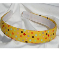 Yellow Polka Dot Headband by shirkdesigns on Etsy
