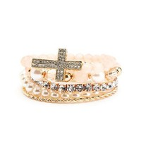 Diamond Cross Bracelet Set: Charlotte Russe