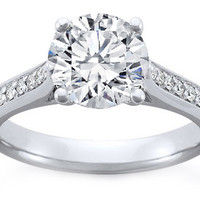 Engagement Ring - Platinum Pave Engagement Ring Setting for Larger Diamonds - ES200