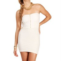 Ivory Crochet Strapless Dress