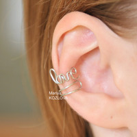 Cartilage ear cuff LOVE in wire for your right ear  by KOZLOVA