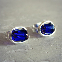 Sapphire Blue Stud Earrings - Sterling Wire Wrapped Czech Glass Bead Posts