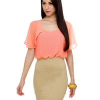 Cute Color Block Dress - Taupe Dress - Peach Dress - &amp;#36;37.50
