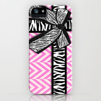 Girly zebra ribbon & bow, pink chevron stripes iPhone Case by Girly Trend | Society6
