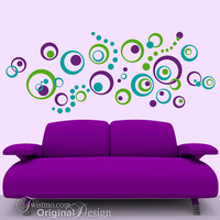 Vinyl Wall Decals 72 Polka Dots and Circles Abstract by Twistmo