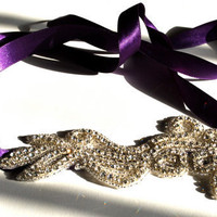 Rhinestone Purple Ribbon Headband by SomethingColorful on Etsy