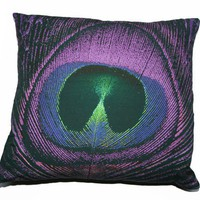 Purple Feather Print Pillow Cushion by ZEDHEAD on Etsy