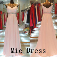 Spaghetti straps sleeveless pink chiffon crystal by MicDress