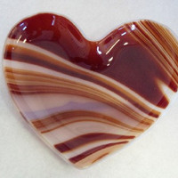 Red VALENTINE Swirled Heart Fused Glass by SunflowerGlassworks