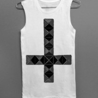 Studded Cross - White Muscle Tee