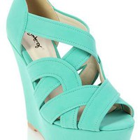 peep toe wedge with cutouts - debshops.com