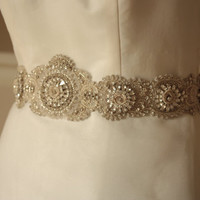 Beaded bridal sash belt 30 inches of beading with clasp - Product code LAMAS