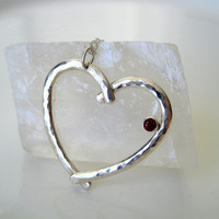 Heart on a Chain - Sterling Silver Hand Forged Heart Necklace with a Faceted Garnet - ready to ship
