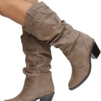 Amazon.com: Womens Western Cowboy Mid-calf Boots Taupe: Shoes