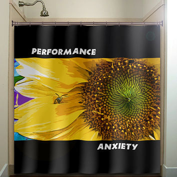 performance anxiety shy bee sunflower shower curtain bathroom