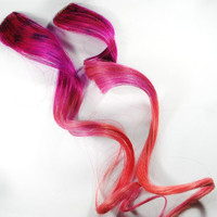 Berry Kisses / Human Hair Extension / Pink Peach / Long Tie Dye Colored Hair