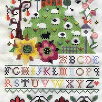 House on Hill Sampler Cross Stitch Pattern | Los Angeles Needlework