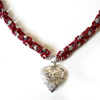 Heart locket necklace Valentine's Day necklace by DoBatsEatCats