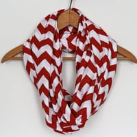 Valentine Gift  SOFT Chevron Infinity Scarf  Red & by Prettyloulou