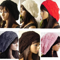 New Fashion 6 Colors Warm Winter Women Beret Braided Baggy Beanie Hat Ski Cap O
