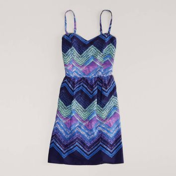 AEO Women's Printed Cutout Dress (Blue)