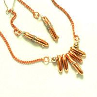Earring set necklace copper sterling silver Fashion by Daniblu