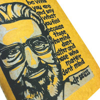 Extra Large Journal with Dr Seuss Quote Linocut by SweetGeePrints