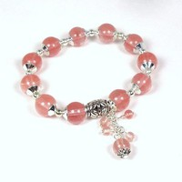 Pink Cherry Quartz Stretch Bracelet with Handwrapped Dangle and Silver