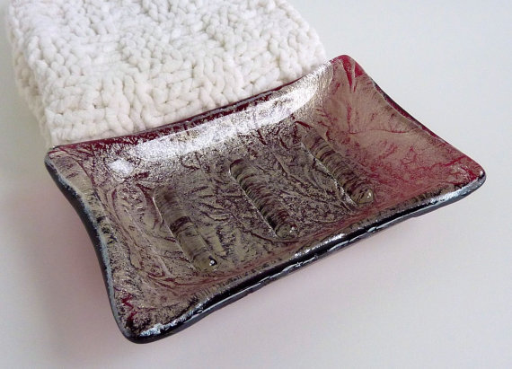 Cranberry and Silver Glass Soap Dish by bprdesigns on Etsy