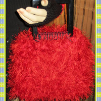 Valentines Red Handbag Cotton & Fun Fur With A by ArtisticFunk