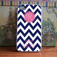 Chevron Navy, Watermelon Monogram - iPhone 4S and iPhone 4 Case Cover