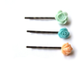 Flower hair pins - Mint hair pins, teal hair pins, peach hair pins, rose bobby pins, set of 3 by JPwithLove