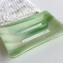 Large Soap Dish in Green and French Vanilla Streaky Fused Glass