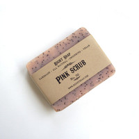 Pink scrub soap. Vegan soap. Pink clay soap. 100% Natural soap, Unscented soap, pink soap, women gifts