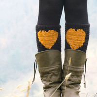 Black Mustard  Short Heart Knit Boot Cuffs. Love Heart Short Leg Warmers. Crochet heart Boot Cuffs. Legwear  mustard black