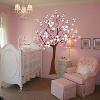 Large Wall Tree Nursery Decal Dogwood Magnolia Cherry Blossom Flowers #1116 (7 Feet Tall)