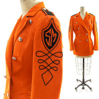 70s Sargent Pepper Marching Band Jacket in Tangerine by nickiefrye