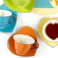 Classic Coffee &amp; Tea by Yedi Drinkware, Inside Out Heart Tea Cups and Saucers, Set of 6 - Casual Dining - Kitchen - Macy&#x27;s Bridal and Wedding Registry