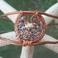 Copper And Bead Owl Bracelet | Luulla