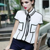 White Bow Chiffon Shirt S009994