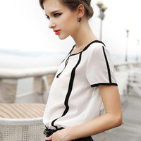White Vintage Short Sleeve Chiffon Shirt S009996