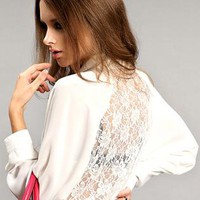 White Hollow Backless Lace Long Sleeve Chiffon Shirt S009998