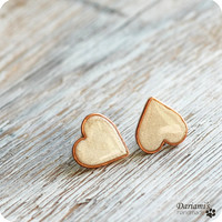 Post earrings Pearly White Hearts by Dariami on Etsy