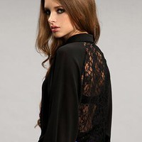 Black Hollow Backless Lace Long Sleeve Chiffon Shirt S009999