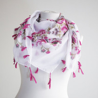 Cotton Scarf with fringes, NEW, Turkish Scarf, Oya, Yemeni, Neckwarmer, Floral Fashion scarf, Belt