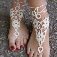 Hand crocheted sexy barefoot lace sandals in ivory by dachuksb7196