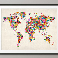 Flowers Map of the World Map, Art Print 18x24 inch (171)