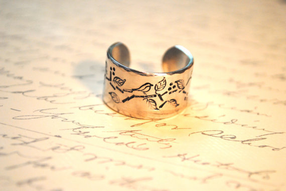 $16.00 Secret Message Songbird Personalized Cuff Ring by BerkeyDesigns