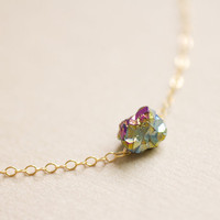 Tiny rainbow drop necklace - raw titanium crystal quartz on gold filled chain - everyday dainty jewelry by AmiesAmies