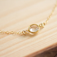 Tiny sparkle - clear round crystal gold filled chain necklace - delicate dainty jewelry by AmiesAmies